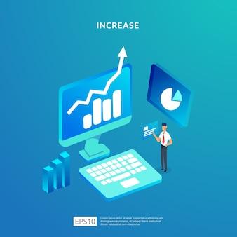 Groei omhoog pijl illustratie concept voor inkomen salarisverhoging met mensen karakter.