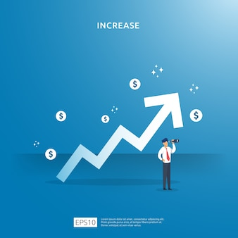 Groei pijl omhoog illustratie concept. bedrijfswinst groeit of inkomen salaris stijgt met het karakter van mensen. verkoopmarge-omzet met dollarteken. financieringsprestaties van roi op investering