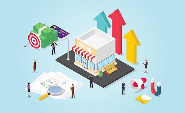 Groei van kleine bedrijven met financieel rapport en datageld met moderne isometrische stijl