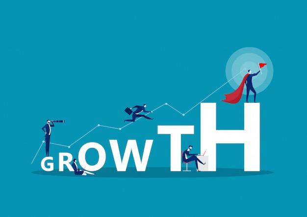 Groei woord concept banner. concept met mensen