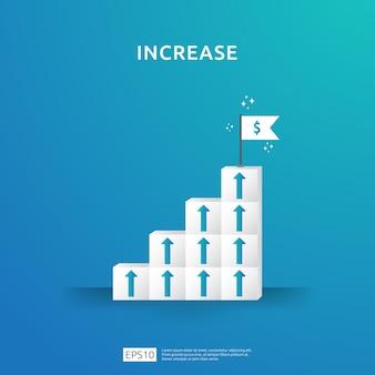 Groeibedrijfstoename met stapelblok. stap trap ladder met pijl omhoog illustratie voor succesproces, stijging inkomen salaris, financiële prestaties van rendement op investering roi.