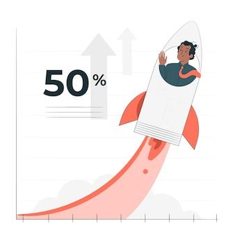 Groeicurve concept illustratie