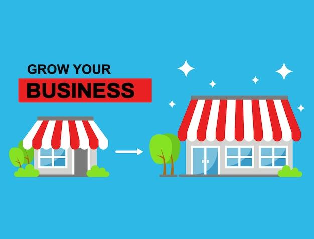 Groeiend bedrijf of winkel van kleine tot grotere illustratie