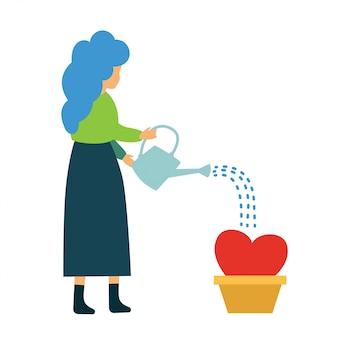Groeiend liefdeconcept. jonge vrouw die weinig hart water geeft