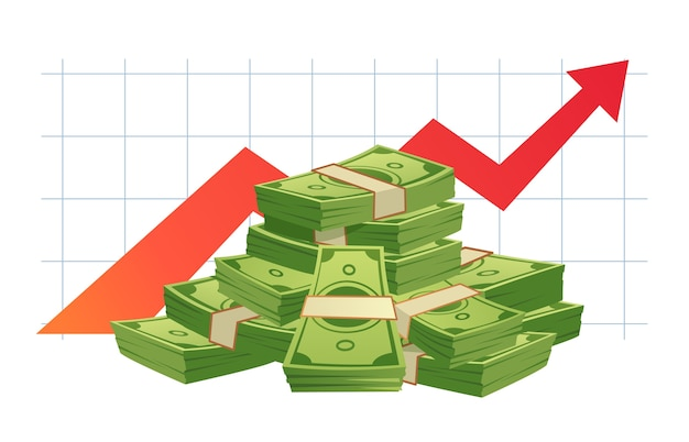 Groeiende cash-grafiek
