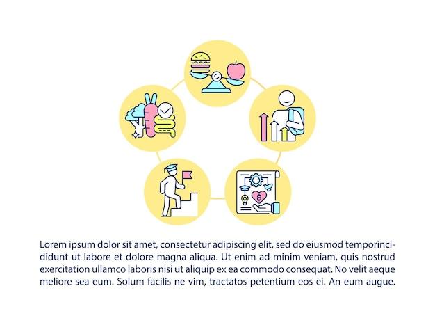 Groeiende gezonde en productieve volwassen conceptlijnpictogrammen met tekst