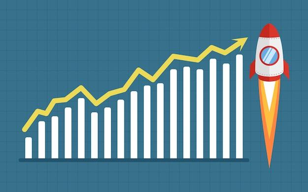 Groeiende grafiek raket vectorillustratie