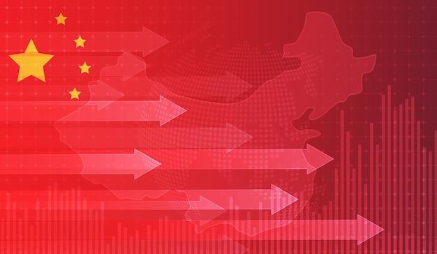 Groeiende grafiek tegen de achtergrond van de chinese vlag kandelaargrafiek beursbeurs