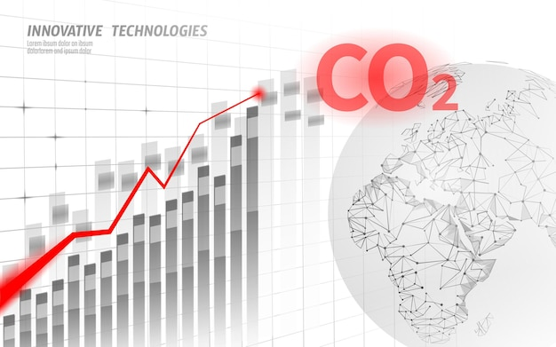 Groeiende grafiek van schade klimaatprobleem.