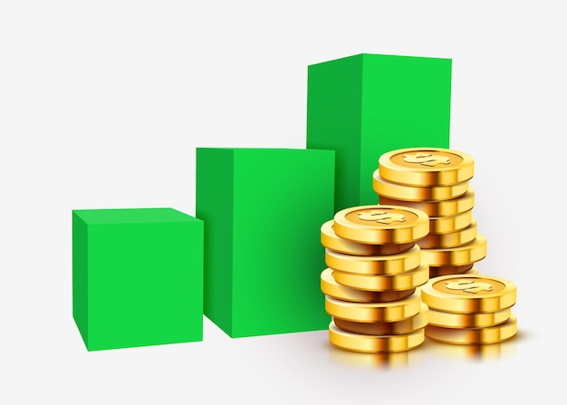 Groeiende stapel gouden dollar munten met stijgende grafiek geïsoleerd op wit.