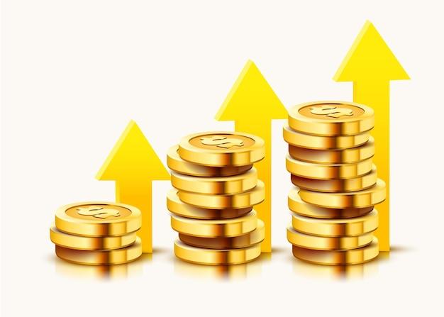Groeiende stapel gouden dollar munten met stijgende pijl geïsoleerd op wit.