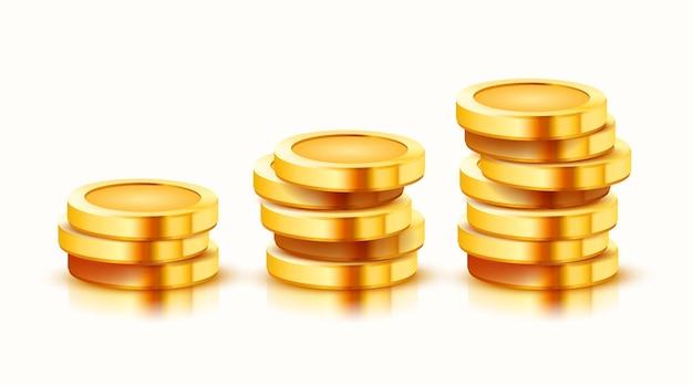 Groeiende stapel gouden munten geïsoleerd op wit.
