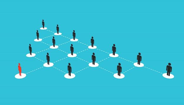 Groeiende verbindende mensen sociaal netwerk schema.