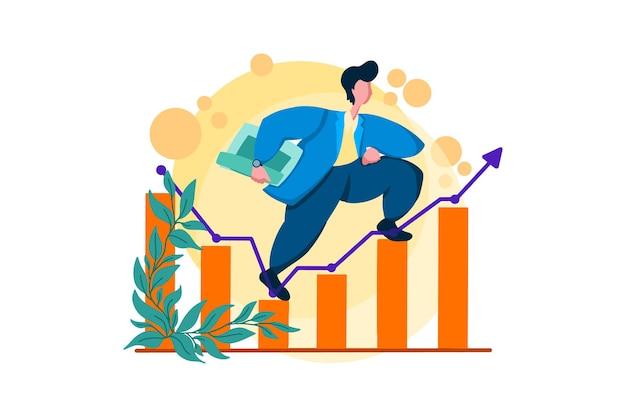 Groeiende zakelijke financiële webillustratie