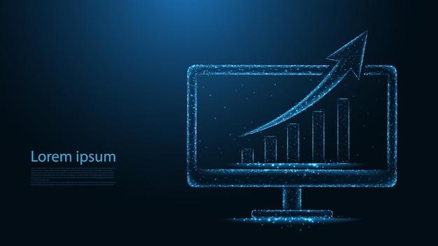 Groeigrafiek op de lijnverbinding van het computerscherm financiële concept. laag poly draadframe-ontwerp. abstracte geometrische achtergrond. vectorillustratie.