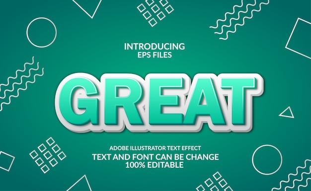 Groen 3d modern reliëf. memphis achtergrond aan boord. bewerkbaar lettertype en tekststijleffect.