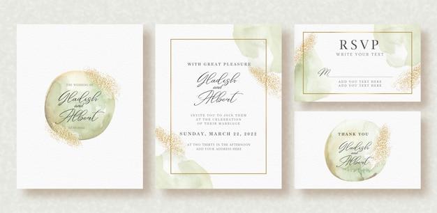 Groen afgerond en gouden sparkle aquarel op bruiloft kaartsjabloon