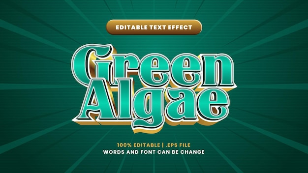 Groen algen bewerkbaar teksteffect in moderne 3d-stijl