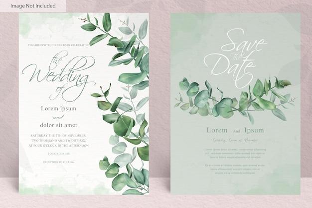 Groen aquarel bruiloft uitnodiging sjabloon met handgetekende eucalyptus