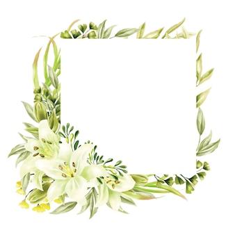 Groen aquarel lelie frame multifunctionele achtergrond