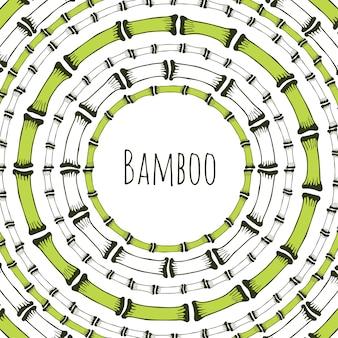 Groen bamboe cirkelframe. doodle label voor natuurlijke producten. vector achtergrond. Premium Vector
