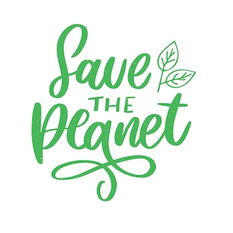 Groen bewaar de planeetzin op wit