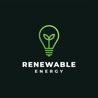 Groen blad en lamp, hernieuwbare energie, ecologie, natuur, lamp, idee logo ontwerpsjabloon