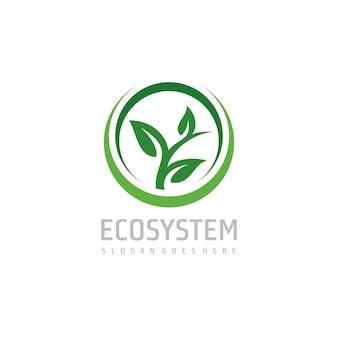 Groen blad logo sjabloon