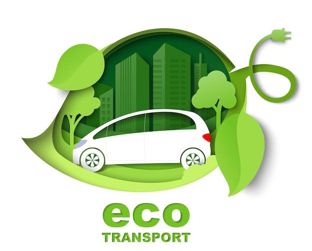 Groen blad met elektrische auto stad gebouw silhouetten vector papier gesneden illustratie stad eco transp...