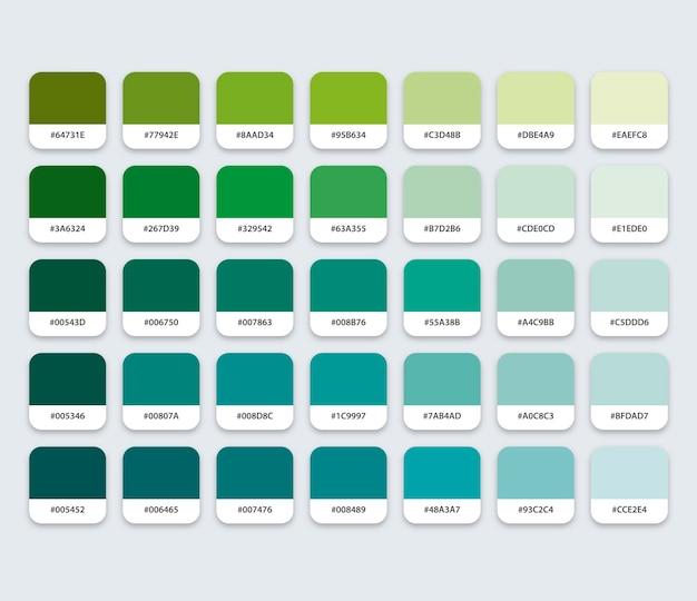 Groen blauw aquamarijn kleurenpalet met hex