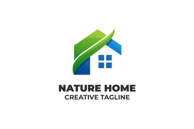 Groen blauw natuur huis bedrijfslogo