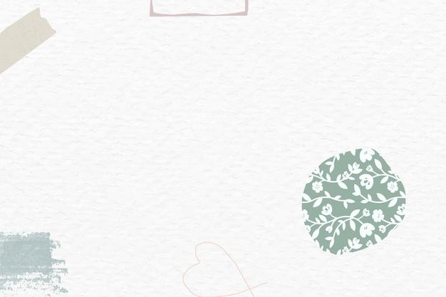 Groen bloemen abstract gebroken wit papier getextureerd sociaal behang