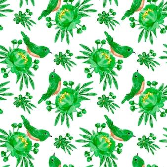 Groen bloemen aquarel naadloos patroon