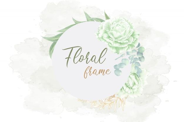Groen bloemen frame bruiloft kaart