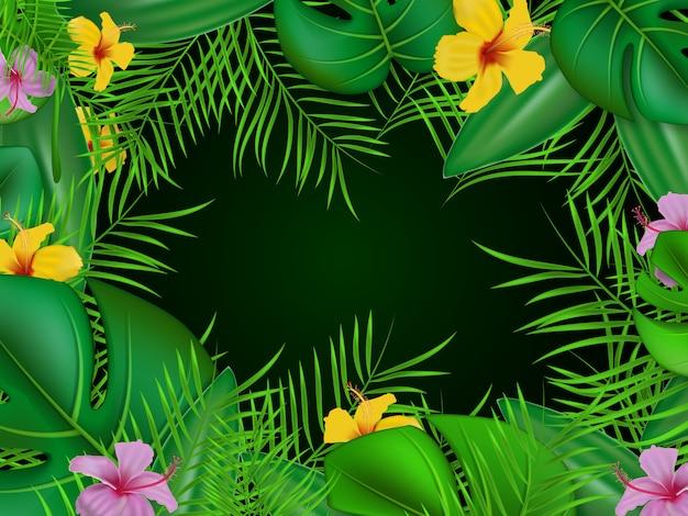 Groen bloemen tropisch achtergrondkaderontwerp, gouden kaderbloemen en tropisch blad met smaragdgroene achtergrond