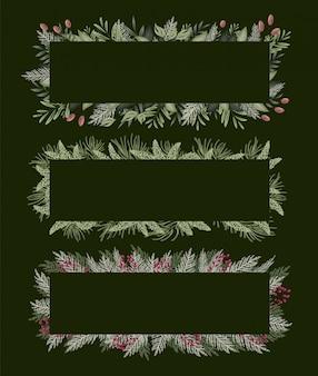 Groen bloemenkader voor uitnodigingskaarten en grafiek.