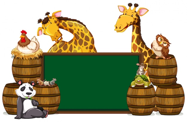Groen bord met giraffen en andere dieren