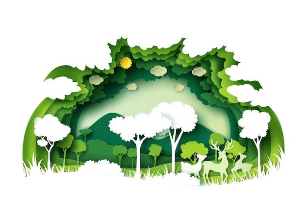 Groen bos en dieren in het wild