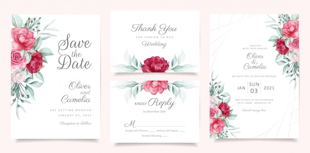 Groen bruiloft uitnodiging kaartsjabloon ingesteld met florale decoratie