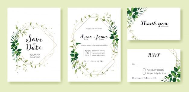 Groen bruiloft uitnodiging