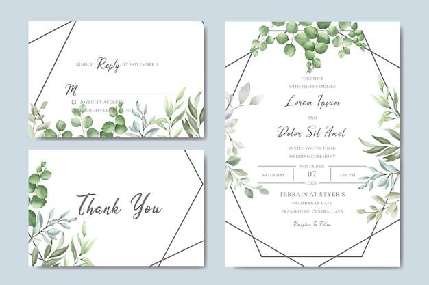 Groen bruiloft uitnodigingskaart ingesteld met aquarel bladeren