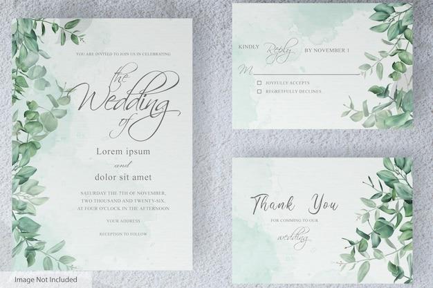 Groen bruiloft uitnodigingskaart set sjabloon met handgetekende eucalyptus gebladerte