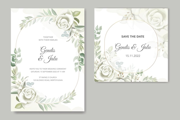 Groen bruiloft uitnodigingskaart set sjabloon met handgetekende lelies