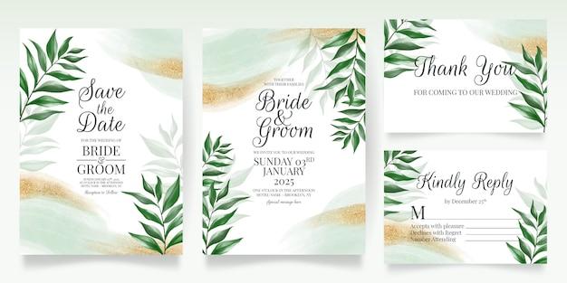 Groen bruiloft uitnodigingskaartsjabloon ingesteld met aquarel laat gouden glitter