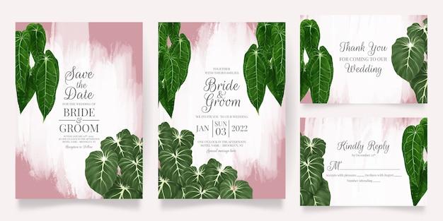 Groen bruiloft uitnodigingskaartsjabloon ingesteld met tropische bladeren