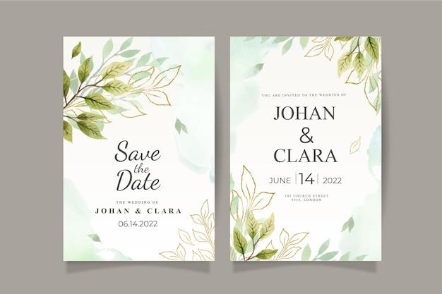 Groen bruiloft uitnodigingskaartsjabloon met aquarel bladeren en goud