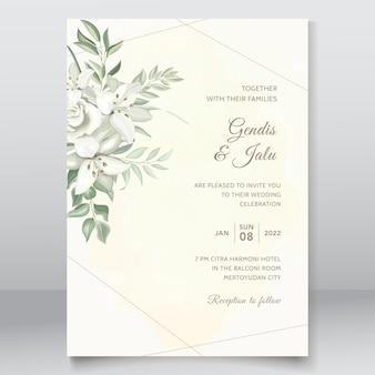 Groen bruiloft uitnodigingskaartsjabloon met handgetekende lelies