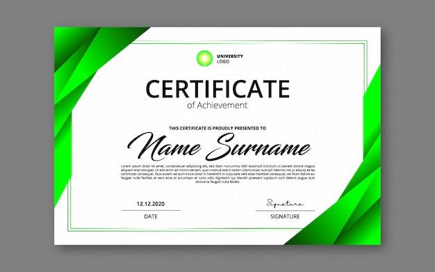 Groen certificaat van prestatie sjabloon