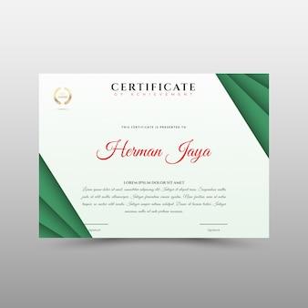Groen certificaatsjabloon in vector voor prestatie
