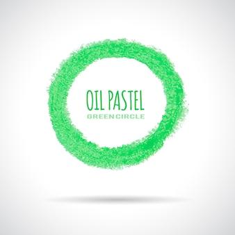 Groen cirkelpictogram, met de hand getekend met oliepastelkrijt. bedrijfslogo, ecologie concept.